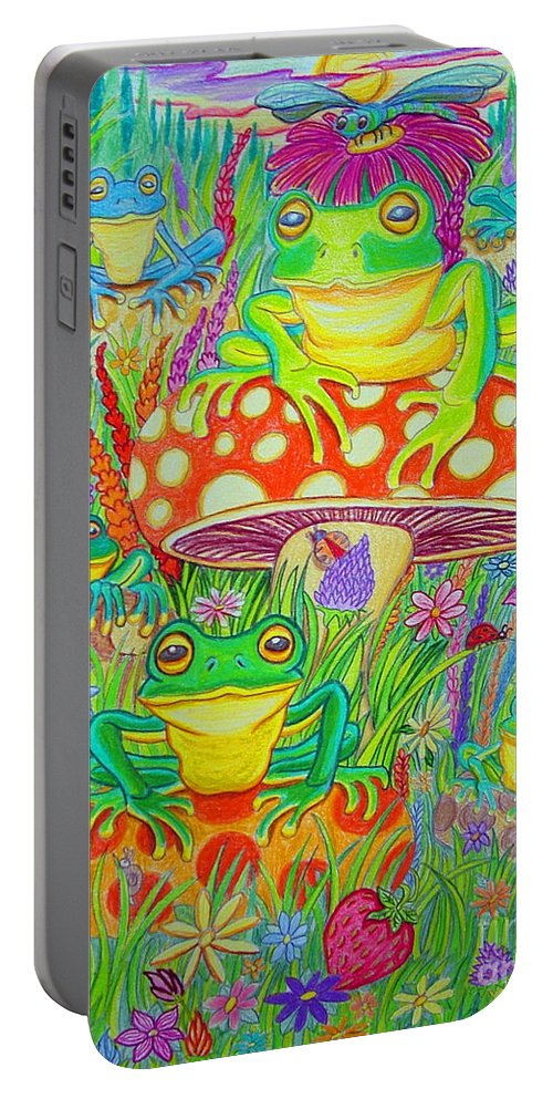Frog Art Portable Battery Charger featuring the drawing Frogs And Mushrooms by Nick Gustafson