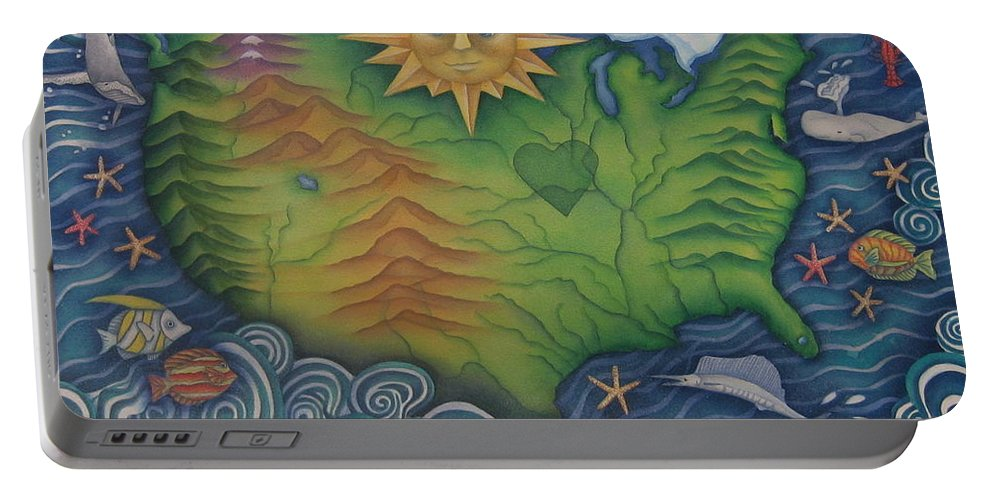 Map Portable Battery Charger featuring the painting From Sea To Shining Sea by Jeniffer Stapher-Thomas