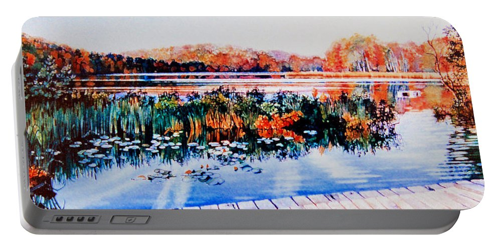 Fall Landscape Portable Battery Charger featuring the painting From The Dock by Hanne Lore Koehler