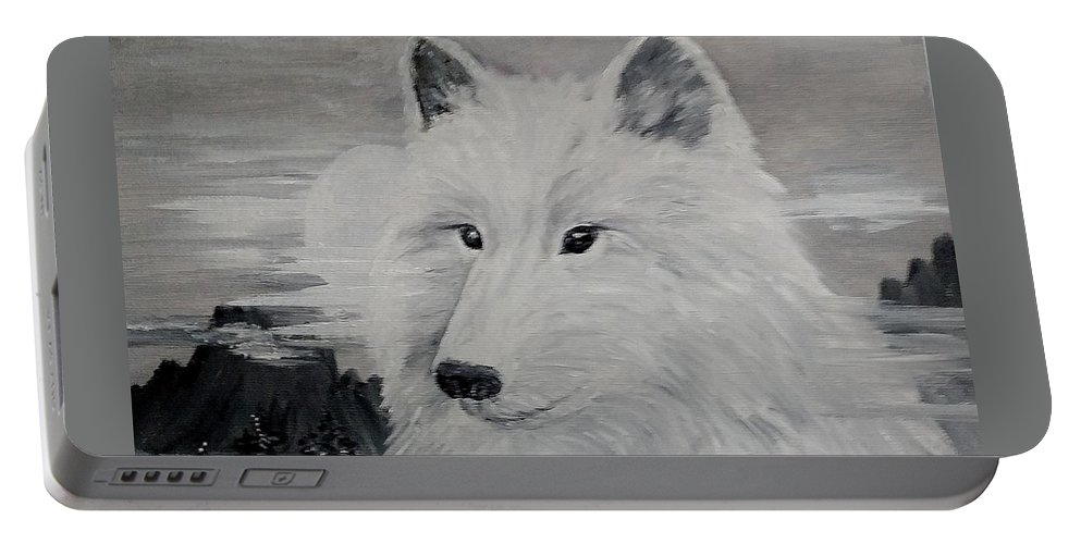 White Wolf Portable Battery Charger featuring the painting From The Mist Of The Moon by Sandra Maddox