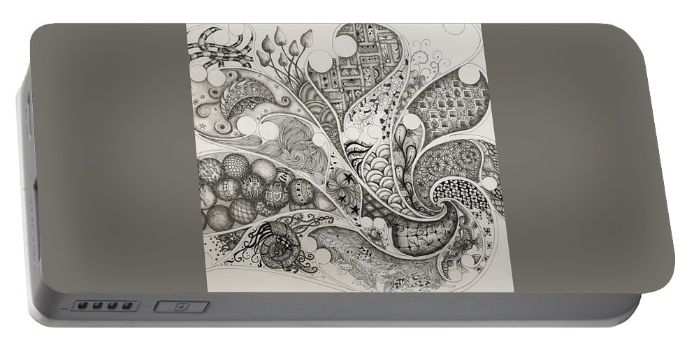 Abstract Portable Battery Charger featuring the drawing From The Right by Rebecca Bowman