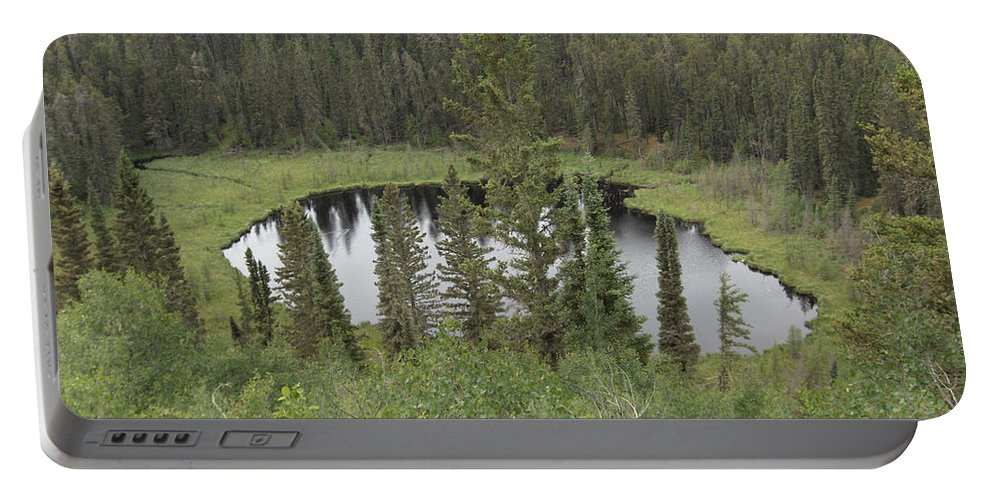 Esker Hills Saskatchewan Hanson Lake Road Lake Forest Water Trees Evergreen Scenery Wild Pond Portable Battery Charger featuring the photograph From The Top Of Esker Hills by Andrea Lawrence