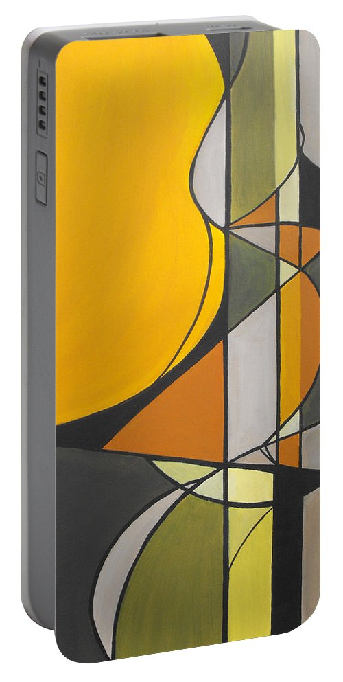 ruth Palmer Abstract Geometric Painting Acrylic Black Grey Green Orange Portable Battery Charger featuring the painting From Time To Time by Ruth Palmer