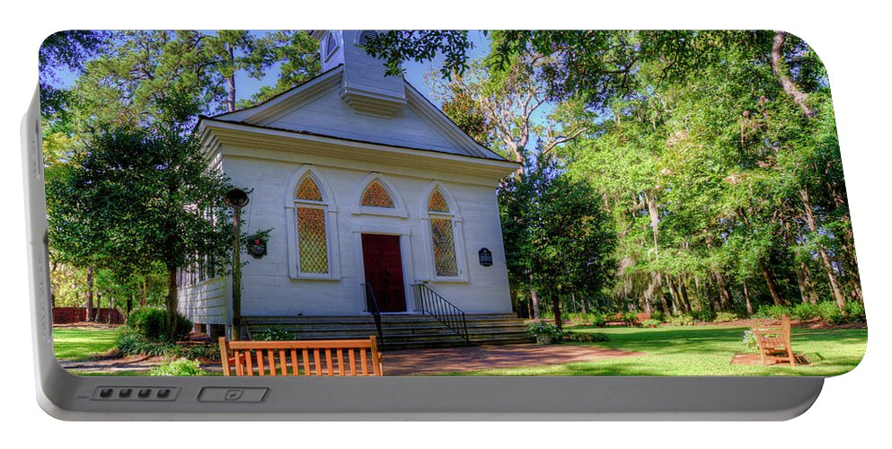 Church Portable Battery Charger featuring the photograph Front Of A Small Church by TJ Baccari