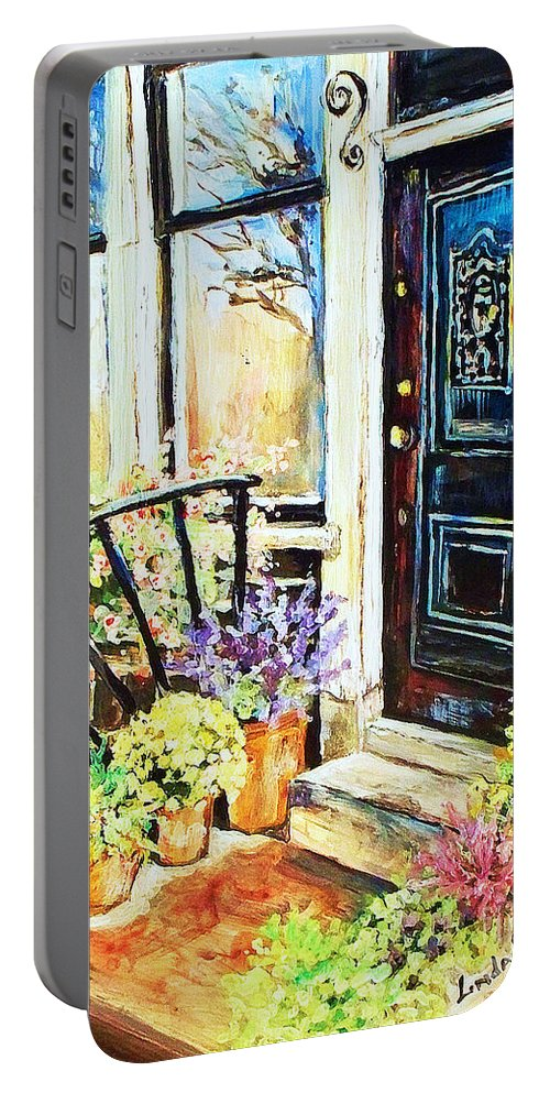 Frontporch Portable Battery Charger featuring the painting Front Porch by Linda Shackelford