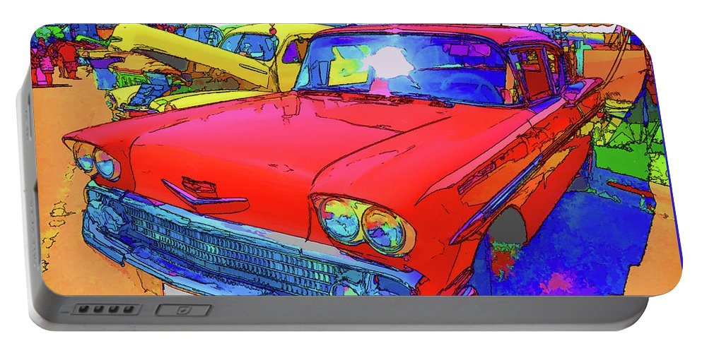 Red Retro Car Portable Battery Charger featuring the painting Front View Of Red Retro Car by Jeelan Clark