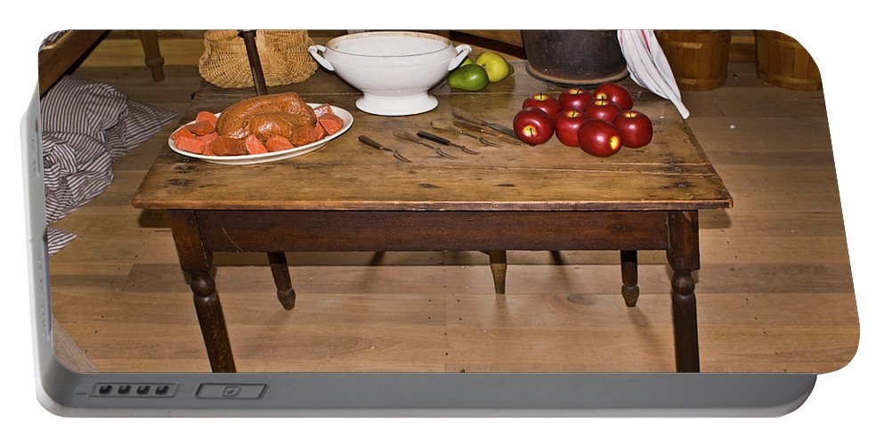 Table Portable Battery Charger featuring the photograph Frontier Table by Douglas Barnett