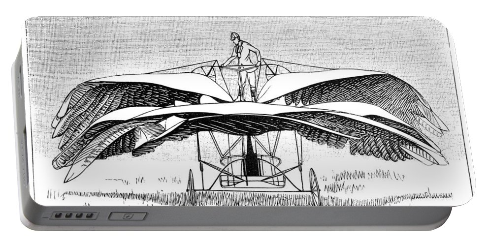 1891 Portable Battery Charger featuring the photograph Frost Flying Machine, 1891 by Granger