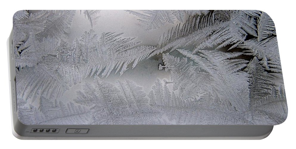 Frost Portable Battery Charger featuring the photograph Frosted Pane by Rhonda Barrett