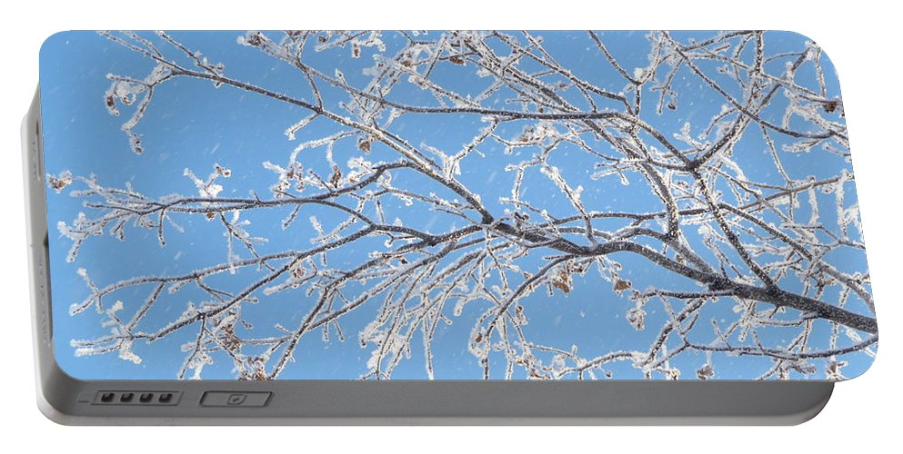 Hoar Frost Portable Battery Charger featuring the photograph Frosty Branch by Ruth Kamenev