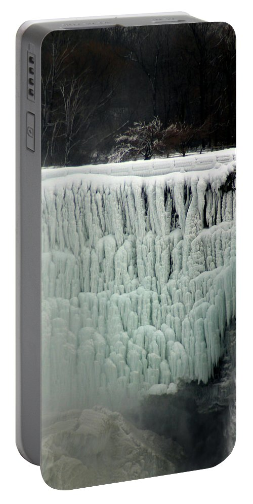 Landscape Portable Battery Charger featuring the photograph Frozen Falls by Anthony Jones