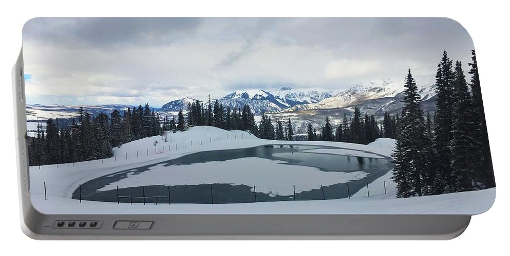 Winter Portable Battery Charger featuring the photograph Frozen Lake by Kelly Foreman
