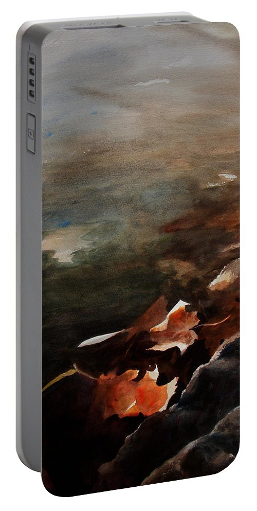 Landscape Portable Battery Charger featuring the painting Frozen Memories by Rachel Christine Nowicki