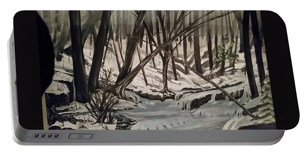 Landscape Portable Battery Charger featuring the painting Frozen River by Rebecca Edenton