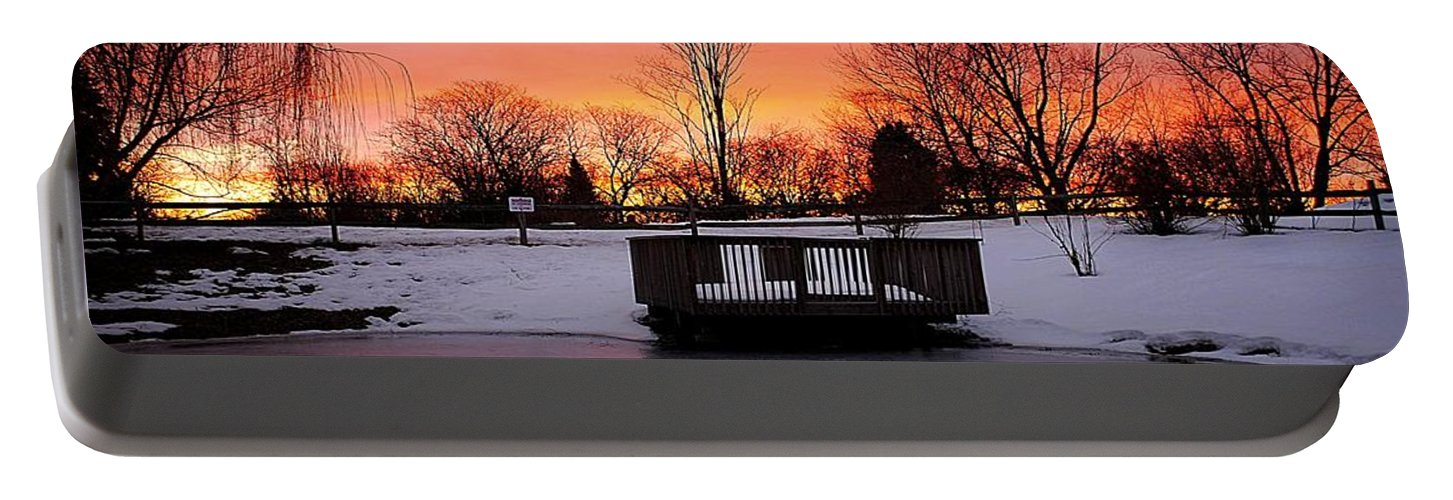 Sunrise Portable Battery Charger featuring the photograph Frozen Sunrise by Frozen in Time Fine Art Photography