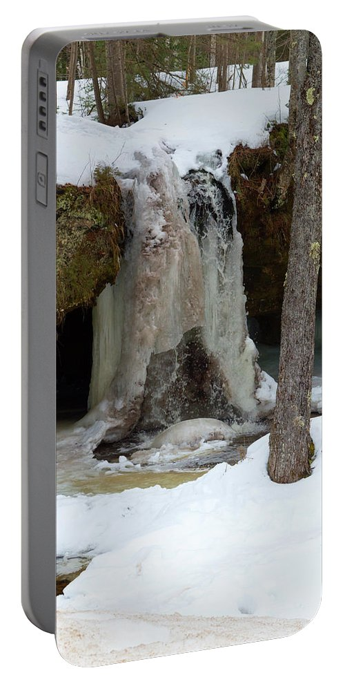 Scott Falls Portable Battery Charger featuring the photograph Frozen Waterfall by Linda Kerkau