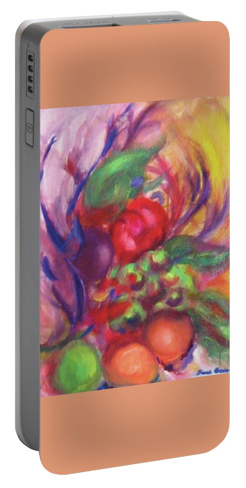 Fruits Portable Battery Charger featuring the painting Fruit And Flowers by Diane Quee