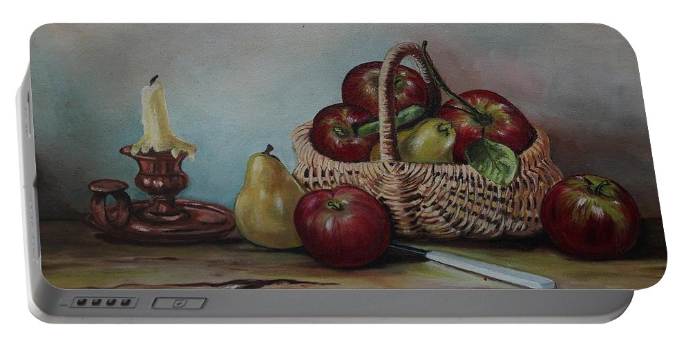 Fruit Basket Portable Battery Charger featuring the painting Fruit Basket - Lmj by Ruth Kamenev