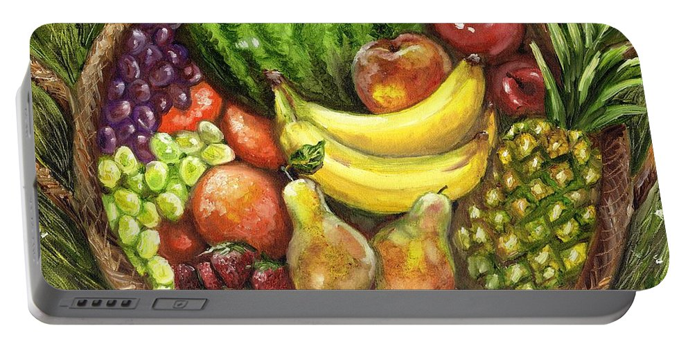 Fruit Portable Battery Charger featuring the painting Fruit Basket by Shana Rowe Jackson