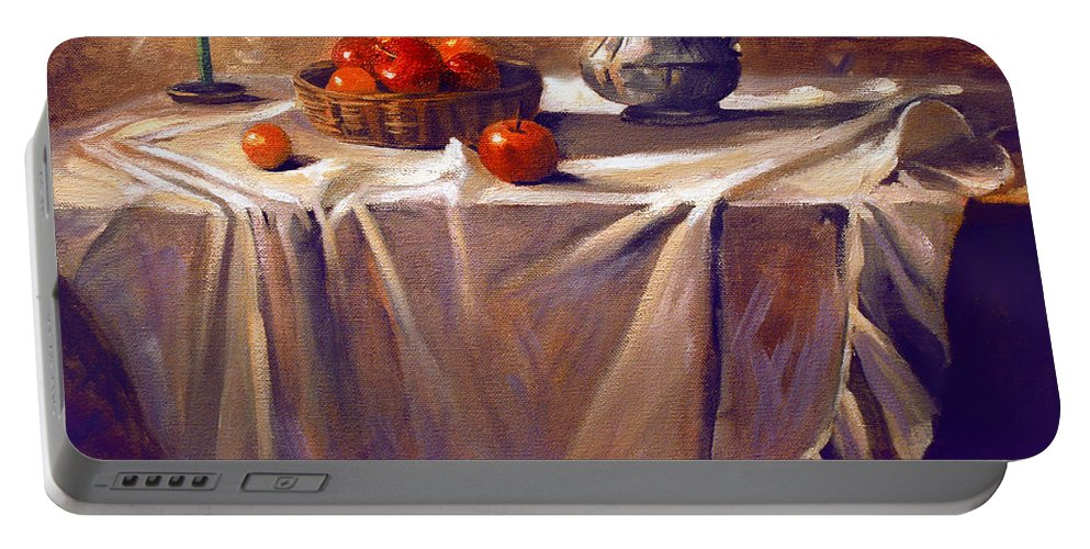 Still Life Portable Battery Charger featuring the painting Fruit By Candle Light by Nancy Griswold