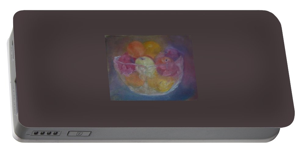 Still Life Portable Battery Charger featuring the painting Fruit In Glass Bowl by Sheila Mashaw
