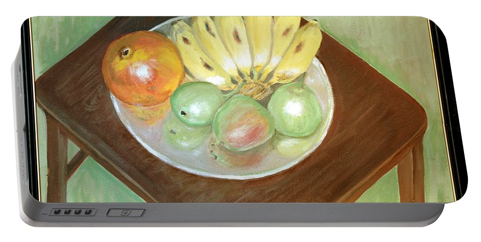Fruits Portable Battery Charger featuring the painting Fruit Plate by Usha Shantharam