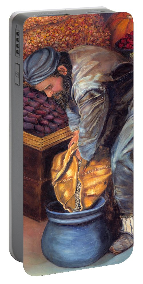 Figurative Painting Portable Battery Charger featuring the painting Fruit Vendor by Portraits By NC