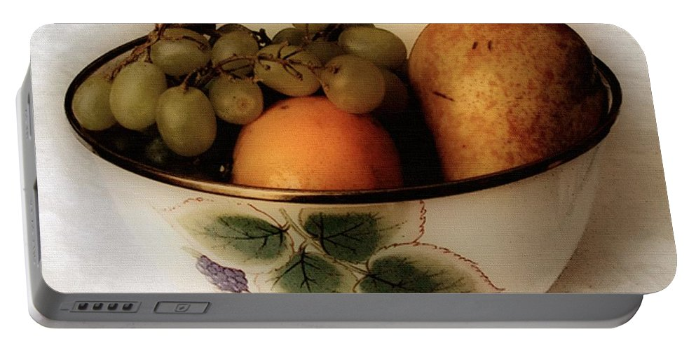 Bowl Portable Battery Charger featuring the painting Fruitbowl Retro by RC DeWinter