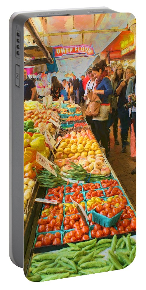 Fruits And Vegetables Portable Battery Charger featuring the photograph Fruits And Vegetables - Pike Place Market by Nikolyn McDonald