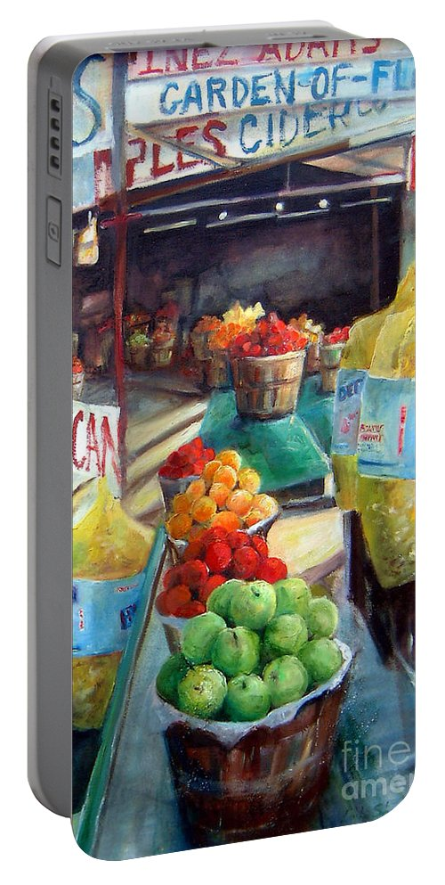 Fruit Portable Battery Charger featuring the painting Fruitstand Rhythms by Linda Shackelford