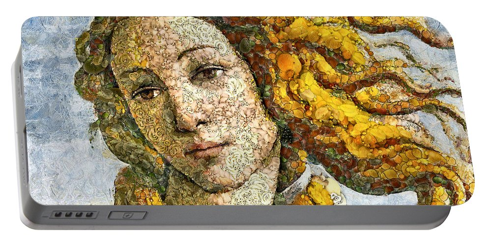 Venus Portable Battery Charger featuring the mixed media Fruity Venus I Am So Sorry Mr Boticelli by Georgiana Romanovna