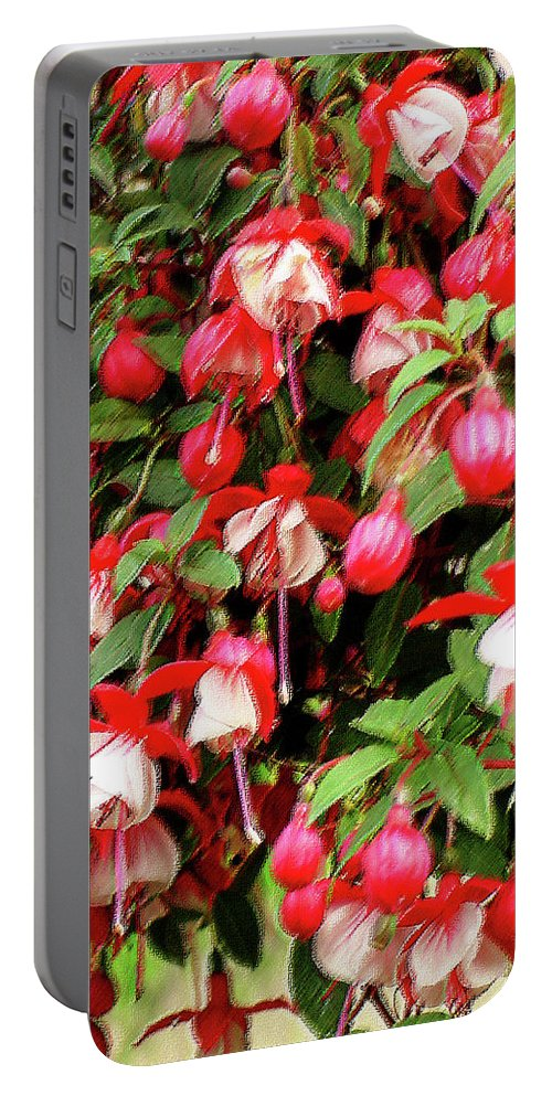 Group Portable Battery Charger featuring the mixed media Fuchsia Pastel by Shirley Heyn
