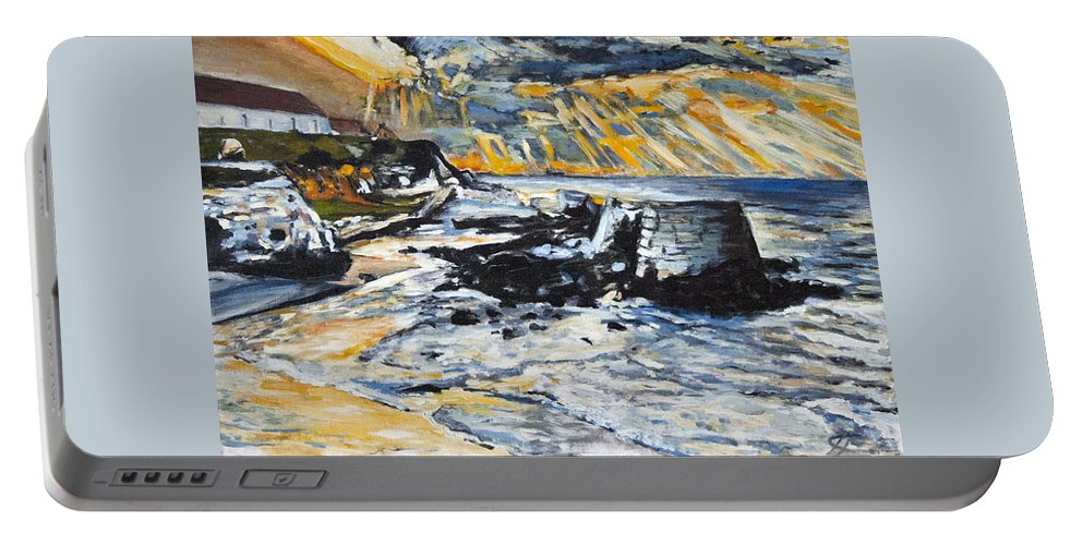 Landscape Portable Battery Charger featuring the painting Fuck Off Army by Pablo de Choros