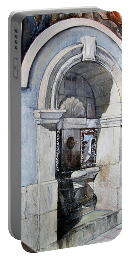 Fuente Portable Battery Charger featuring the painting Fuente Castro Urdiales by Tomas Castano