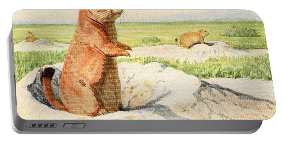 Fuertes Portable Battery Charger featuring the painting Fuertes, Louis Agassiz 1874-1927 - Burgess Animal Book For Children 1920 Prairie Dog by Louis Agassiz Fuertes
