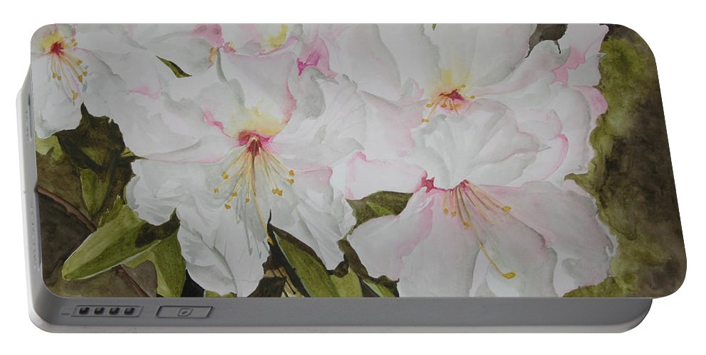 Flowers Portable Battery Charger featuring the painting Full Bloom by Jean Blackmer