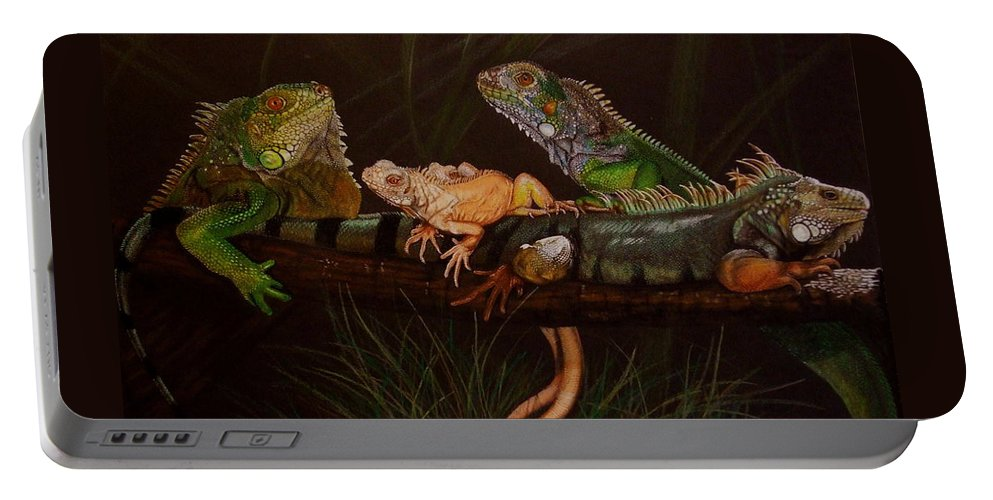 Iguana Portable Battery Charger featuring the drawing Full House by Barbara Keith