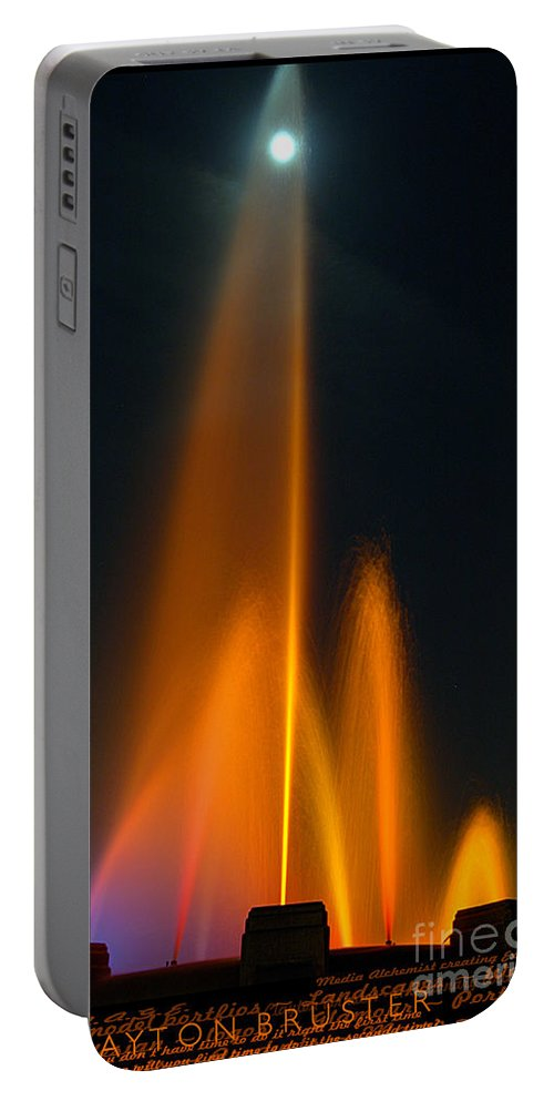 Clay Portable Battery Charger featuring the photograph Full Moon And Fiery Fountain by Clayton Bruster