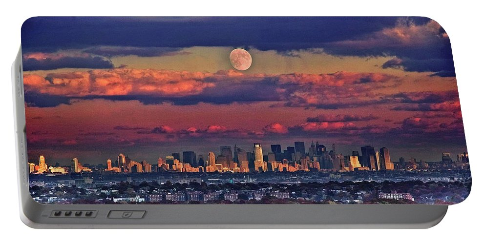 Landscape Portable Battery Charger featuring the photograph Full Moon Over New York City In October by Yuri Lev