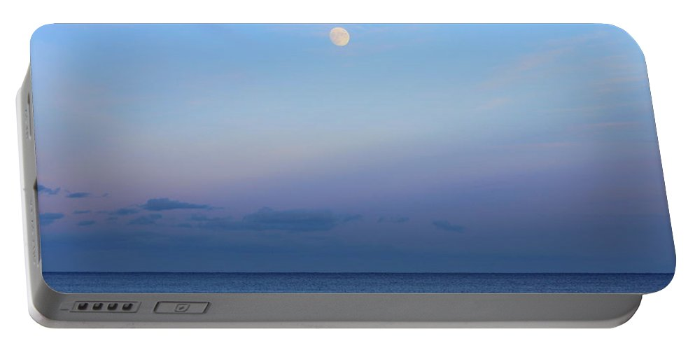 Full Portable Battery Charger featuring the photograph Full Moon Over The Atlantic Ocean In Rye, New Hampshire by Anita Hiltz