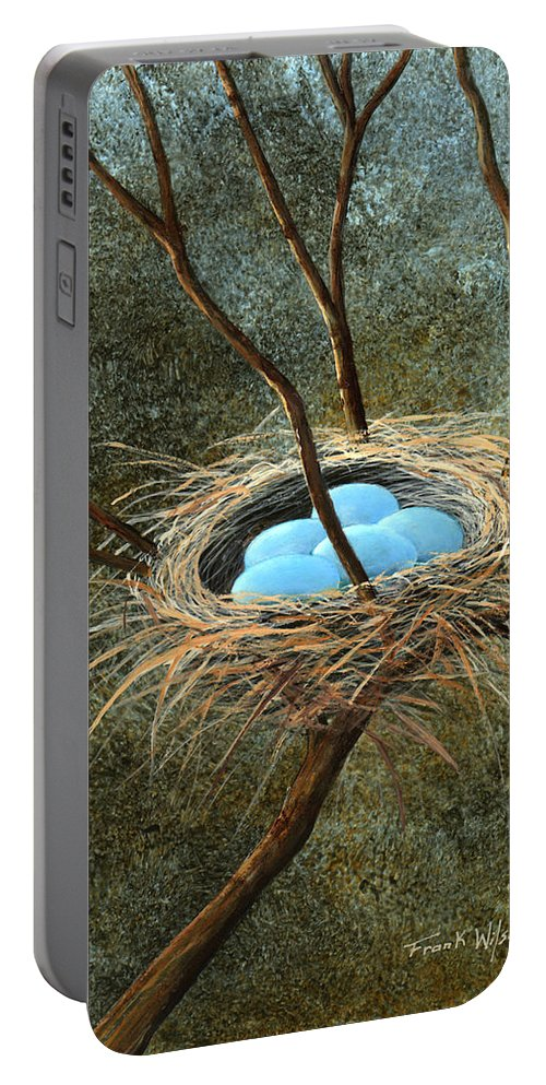 Birds Nest Portable Battery Charger featuring the painting Full Nest by Frank Wilson