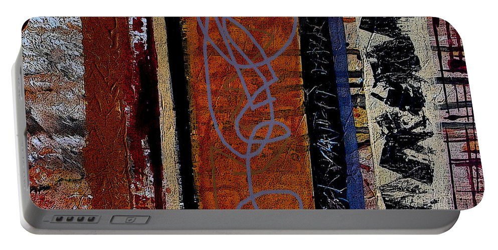Abstract Portable Battery Charger featuring the mixed media Full Of Surprises by Ruth Palmer