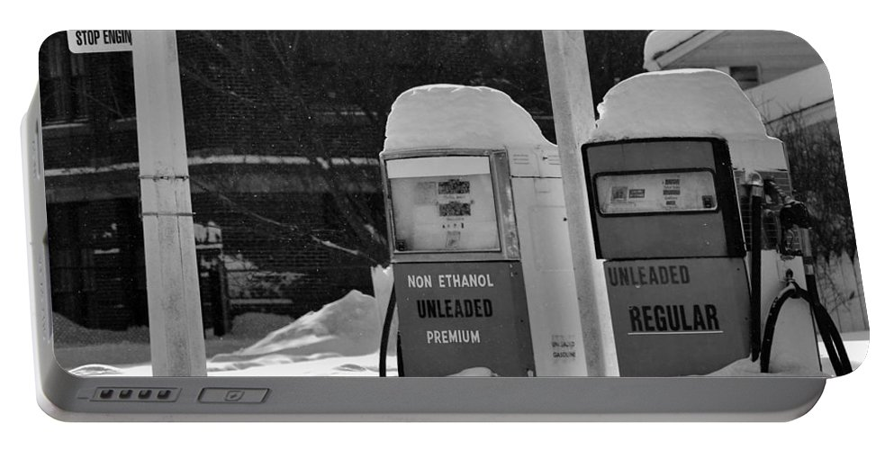 B&w Portable Battery Charger featuring the photograph Full service by Lisa Kane