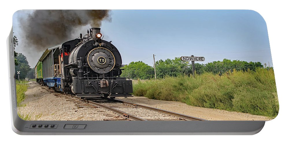 Transpotation Portable Battery Charger featuring the photograph Full Steam To Nowhere by Kevin Anderson