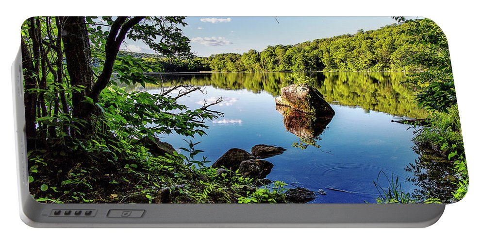 Lake Waramaug Portable Battery Charger featuring the photograph Fuller Pond by Grant Dupill