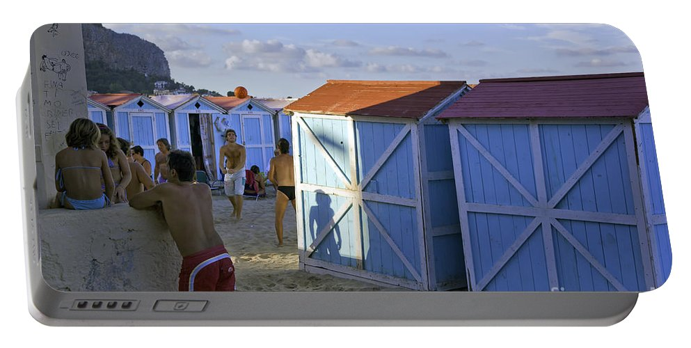 Cabana Portable Battery Charger featuring the photograph Fun At Mondello Beach by Madeline Ellis