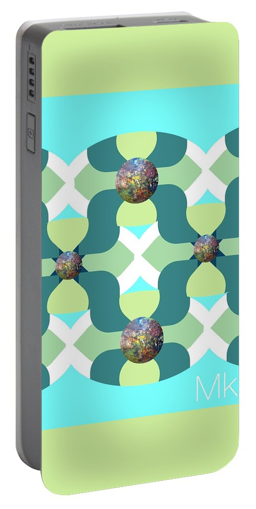 Abstract Portable Battery Charger featuring the digital art Fun by Mary Jo Hopton