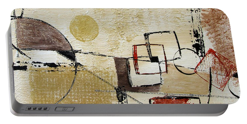 Abstract Portable Battery Charger featuring the painting Fun With Shapes by Ruth Palmer