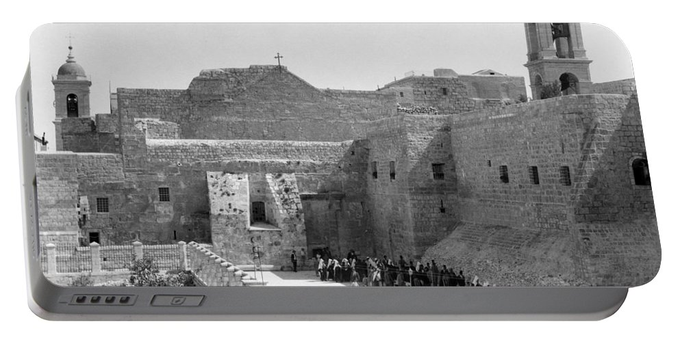 Bethlehem Portable Battery Charger featuring the photograph Funeral Procession In Bethlehem During 1934 by Munir Alawi