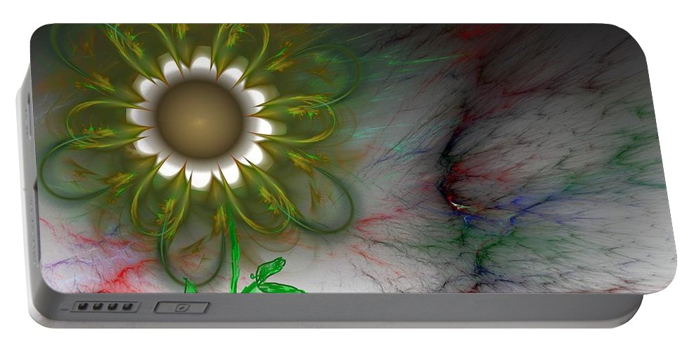 Digital Photography Portable Battery Charger featuring the digital art Funky Floral by David Lane